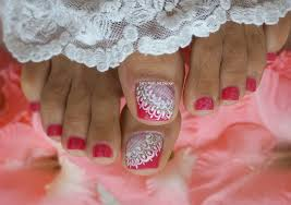 pink and white french pedicure wedding toes art design lace