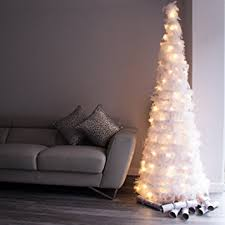 luxury white feather tree with warm white led