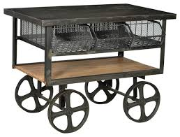 Iron Console Table Iron And Wood Trolly Cart Industrial Console Tables Other