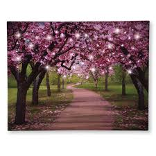 amazon com lighted cherry blossom trees canvas pink home kitchen