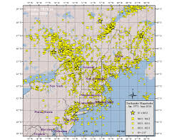 New England Map by Northeast Earthquake Catalogs Weston Observatory Boston College