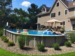 ideas oval pool decks semi inground pool ideas above ground