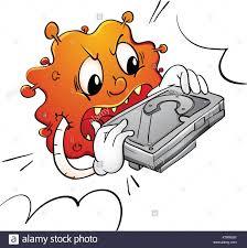 Harddisk Vira Illustration Of A Virus Destroying A Disk Stock Vector