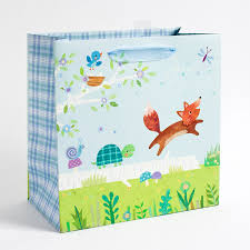 woodland fox baby boy large baby shower gift bag papyrus