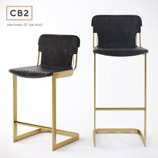 Cb2 Bar Stools 3d Models Chair Cb2 Rake Brass Bar Stool