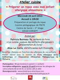 affiche atelier cuisine au bonheur des enfants allergiques agenda des événements