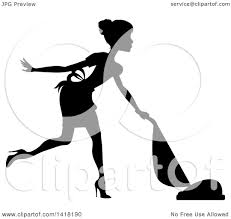 clipart of a black silhouetted female maid with her hair in a bun