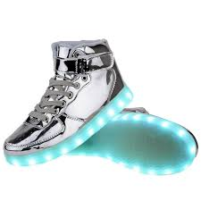 light up sneakers high top usb charging led light up shoes flashing sneakers silver
