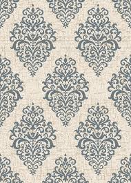 Concord Global Area Rugs Casa 8855 Damask Ivory Blue Area Rug By Concord Global Trading