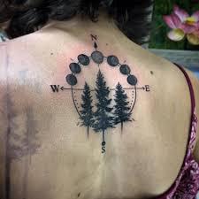 blackwork forest moon phase by nic lebrun tattoos