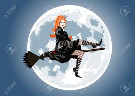 witch from room on the broom costume beautiful witch sitting on broom on full moon background lot