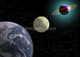earth moon and saturn with a new sun wallpaper wall mural earth moon and saturn with a new sun wall mural photo wallpaper