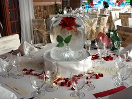 wedding table centerpiece ice sculpture globe with red roses