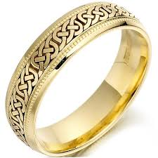 gold wedding band mens wedding ring mens gold celtic knots beaded wedding band at