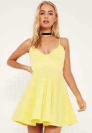 yellow dress yellow strappy plunge skater dress missguided