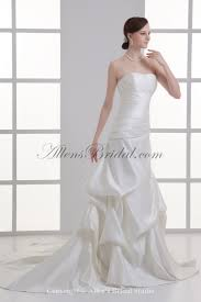 allens bridal satin strapless a line chapel train gathered