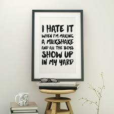 funny home decor new to fuzzyandbirch on etsy my milkshake art print closet