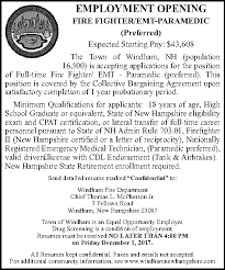Fire Department Resume Firefighter Emt Paramedic Job At Windham Town Of Monster Com