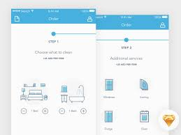 cleaning app order process freebie download sketch resource