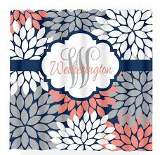 Navy And Coral Shower Curtain Navy Coral Gray Shower Curtain Custom Monogram Personalized