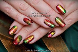 gelish autumn foil leaves nails funky fingers factory