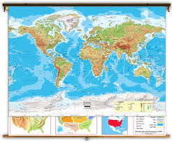 Coral Reefs Of The World Map by Intermediate U S U0026 World Physical Classroom Map Combination From