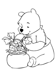 winnie the pooh easter basket winnie with easter basket coloring page free printable coloring pages