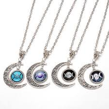 fashion adjustable tibetan silver chain moon pendant clavicle