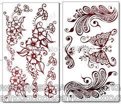 6pcs mixed henna designs temporary tattoo sticker waterproof body
