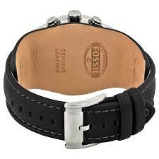 fossil black leather bracelet images Fossil blue glass chronograph black leather strap men 39 s watch jpg