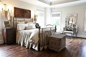 modern farmhouse bedrooms with metal bed frame and rattan box as