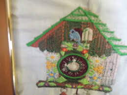 Modern Coo Coo Clock Embroidered Artwork Antique Coo Coo Clock Framed Ships Free In