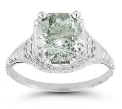 green amethyst engagement ring antique style green amethyst floral ring in 14k white gold