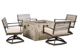 Star Furniture Outdoor Furniture by Star Furniture Peachstone Square Fire Pit Table W 4 Swivel Chairs