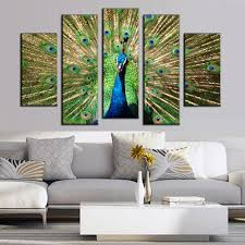 online get cheap peacock paintings aliexpress com alibaba group fallout paintings 5 pcs set artist canvas peacock painting big size top home decoration wall pictures for living room cuadros