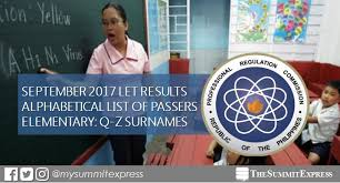 Janin Quiza Q Z Passers List September 2017 Let Results Elementary The Summit