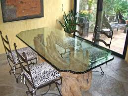 Chipped  Polished Edge Dining Room Table Top Glass Dining Table - Glass for kitchen table