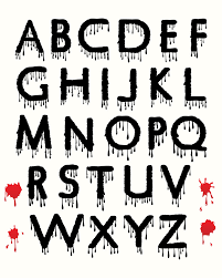 digital halloween clipart alphabet dripping blood spooky
