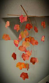 autumn leaf mobile paper filter craft glue dot craft make it