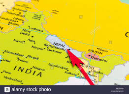 Continent Of Asia Map by Red Arrow Pointing Nepal On The Map Of Asia Continent Stock Photo