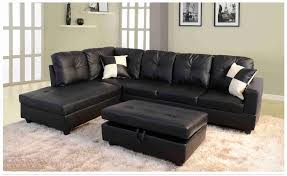 black faux leather sectional with storage ottoman