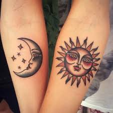 traditional matching sun and moon tattoos artist anem