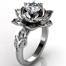 lotus engagement ring 14k white gold diamond unique lotus flower engagement ring