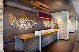 Granite Reception Desk Front Desk Wood White Duco Granite Table Top Warm Fluorescent