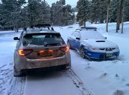 subaru snow my sti hatch and wife u0027s wrx with some colorado snow subaru