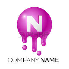 n letter splash logo orange dots and circle bubble letter design