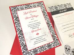 Layered Wedding Invitations Damask Day Of The Dead Skull Wedding Invitation In Bright Colors