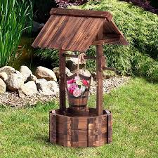 Wishing Well Garden Decor Wooden Wishing Well Outdoor Ornament Home Decor Garden Feature