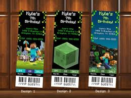 minecraft birthday invitations ticket kustomkreations