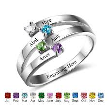 sterling silver personalized jewelry charms friendship family rings 4 birthstone names diy custom